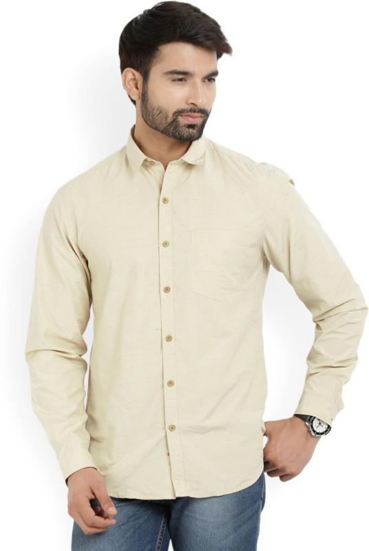 John Players Mens Self Design Casual Beige Shirt