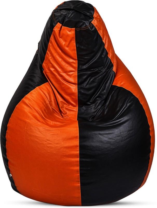 Sultaan XXXL Bean Bag Cover (Without Beans)(Black, Orange)