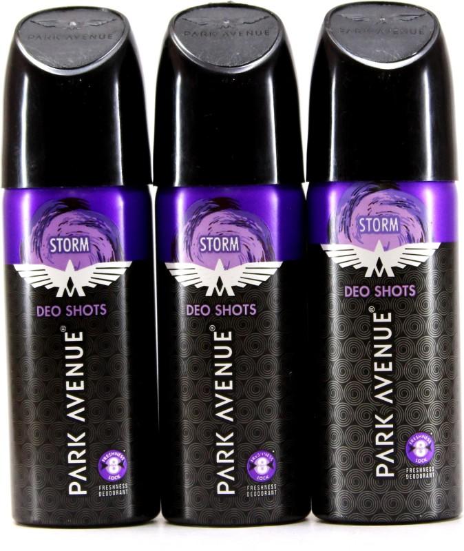 Park Avenue Storm Deo Shots 3 pcs Pack Deodorant Spray - For Men(81 g, Pack of 3)