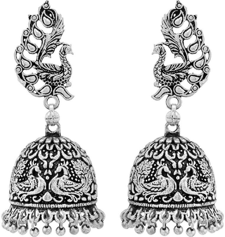 Voylla Beautiful Jhumki Earrings with Peacock Detail Alloy Jhumki Earring
