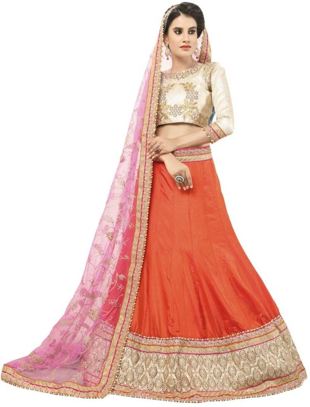 Manvaa Brocade Embroidered Semi-stitched Lehenga Choli Material