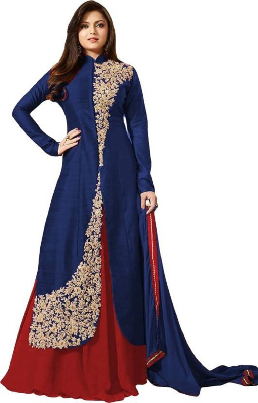 Zelly Creation Georgette Embroidered Semi-stitched Salwar Suit Dupatta Material