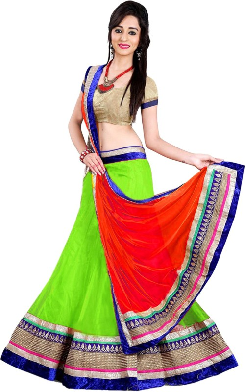 Active Net Embroidered Lehenga Choli Material(Un-stitched)