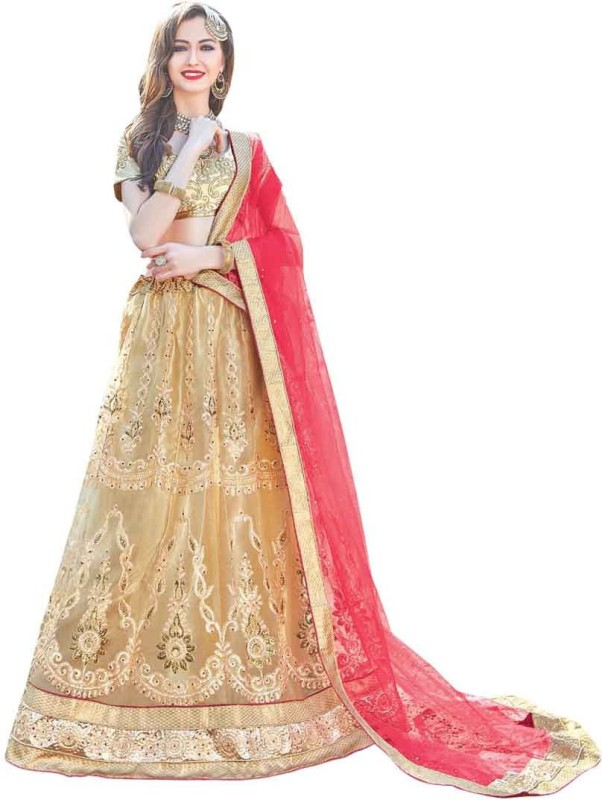 Manvaa Net Embroidered Semi-stitched Lehenga Choli Material