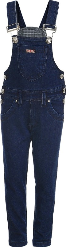 Benext Dungaree For Boys Solid Cotton(Dark Blue)