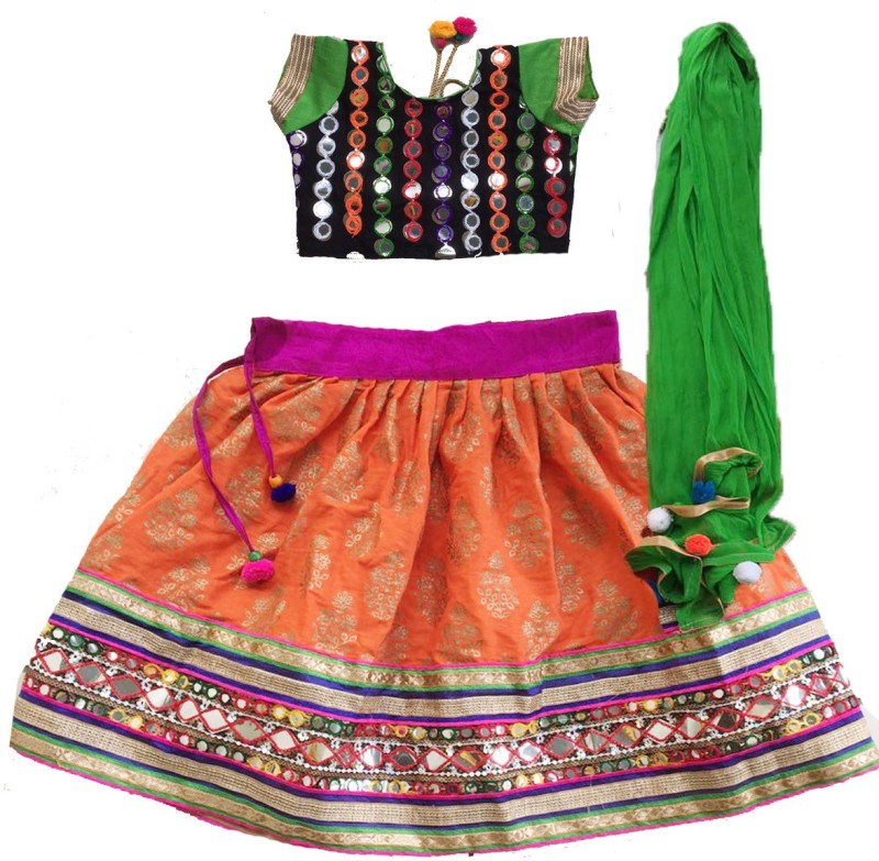 Aglare Baby Girls Lehenga Choli Ethnic Wear Embroidered Lehenga, Choli and Dupatta Set(Orange, Pack of 1)
