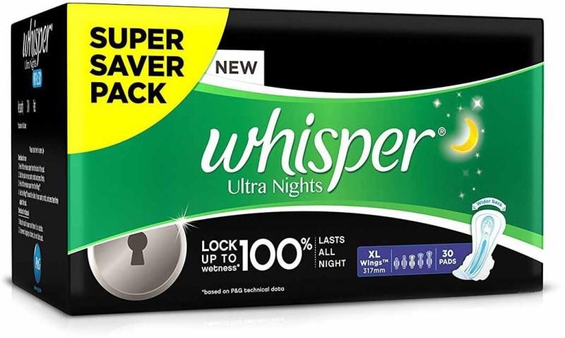 Whisper Ultra Nights XL Wings Sanitary Pad  (Pack of 30)