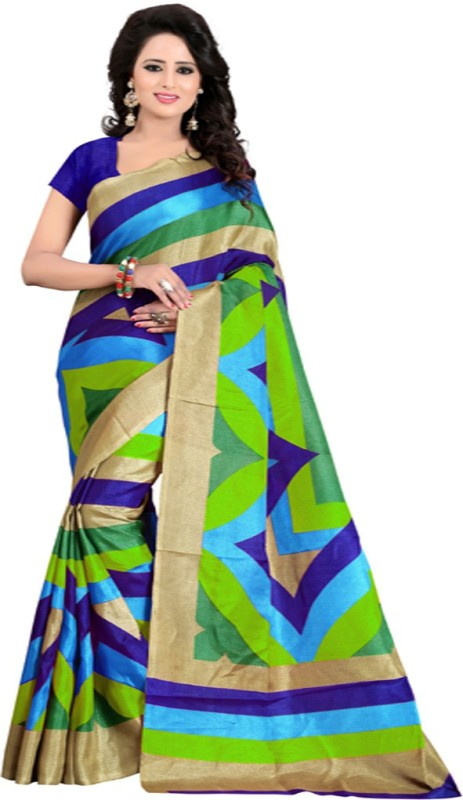V J Fashion Printed Bhagalpuri Art Silk Saree(Multicolor)