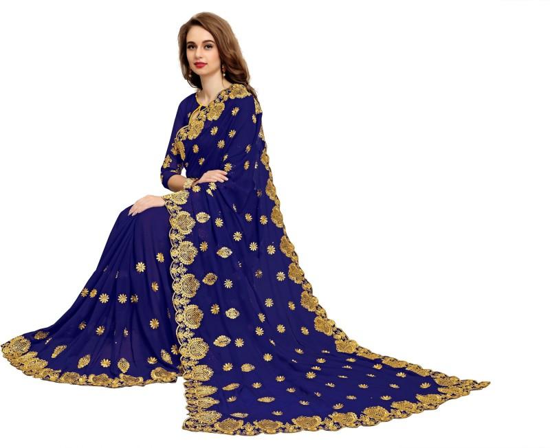 IndianEfashion Embroidered Fashion Georgette Saree(Dark Blue)
