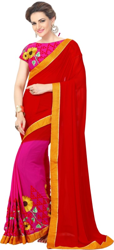 onlinefayda Self Design Bollywood Georgette Saree(Red, Pink)