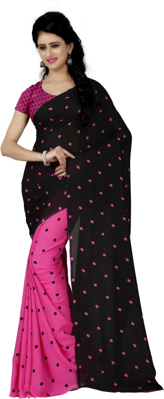 Anand Sarees Printed Daily Wear Faux Georgette Saree(Pink, Black)