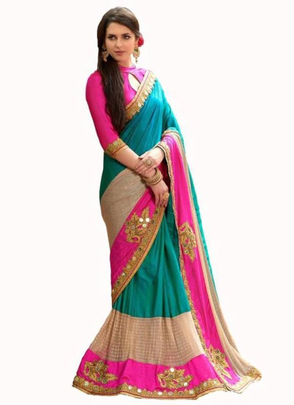 Zofey Embroidered Fashion Satin Saree(Light Blue)