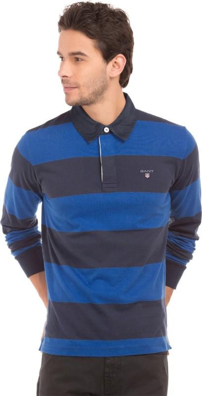 Gant Striped Men Polo Neck Blue, Black T-Shirt