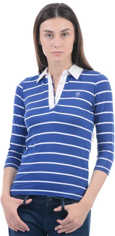 Pepe Jeans Striped Women Polo Neck Blue T-Shirt