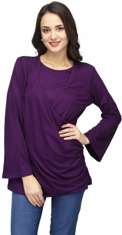 KARMIC VISION Casual Full Sleeve Solid Women's Purple Top