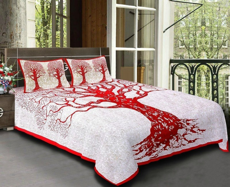 JAYOYA FAB 300 TC Cotton Double Printed Bedsheet(Pack of 1, Red)