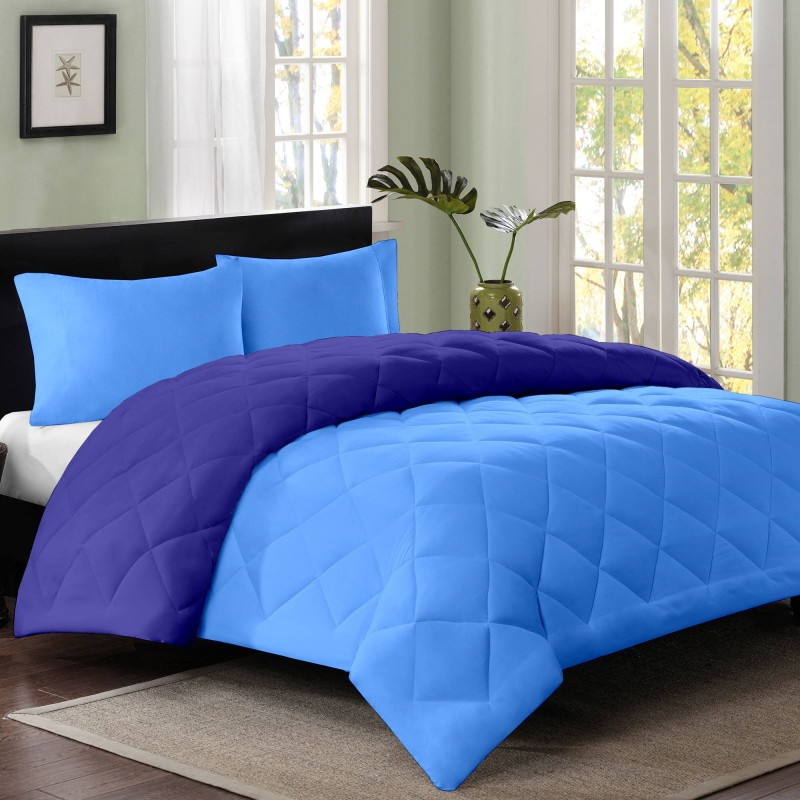 Cloth Fusion Plain Single Blanket Skyblue, Navy Blue(1 Single Size Comforter)