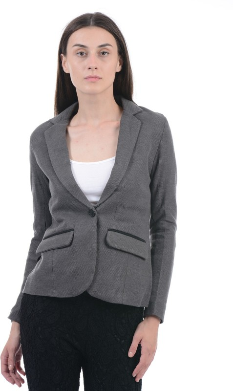 Pepe Jeans Solid Single Breasted Casual Women Blazer(Grey)