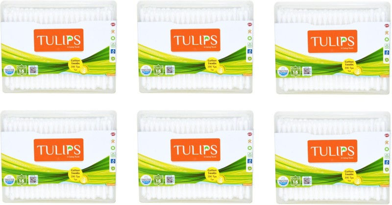 Tulips Cotton Buds (6 boxes of 100 Buds)(6 Units)