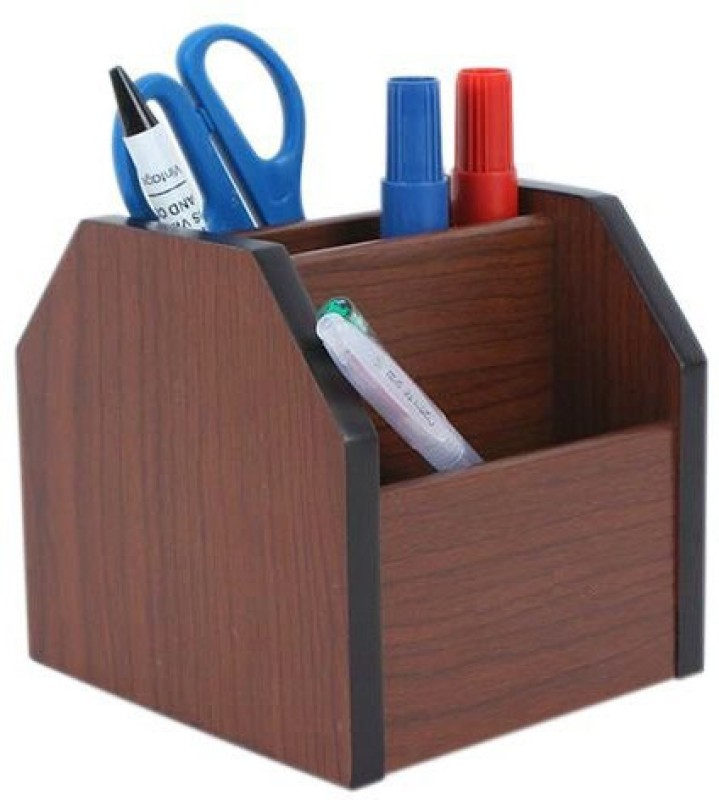 Jamboree 4 Compartments Wooden 360 Degree Rotation Wooden Pen Stand...