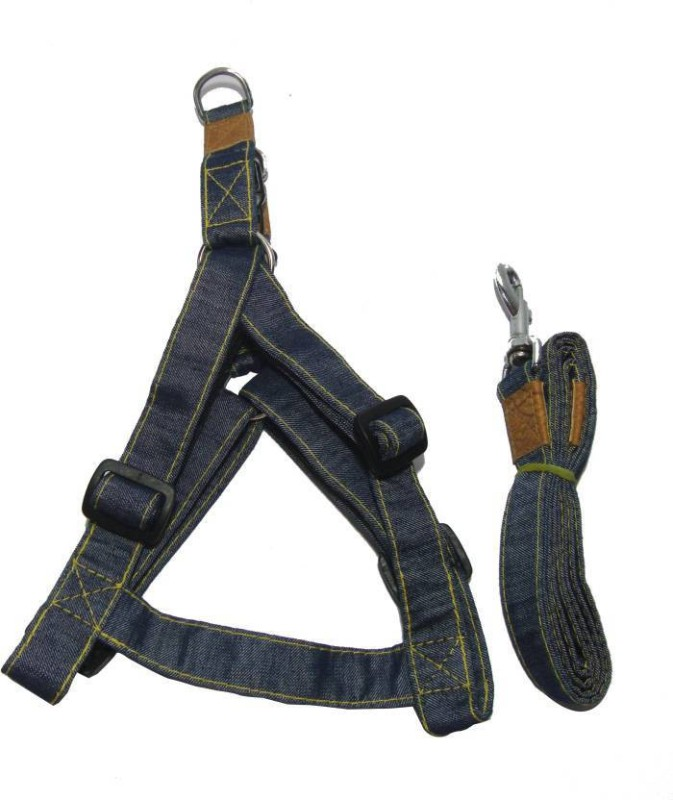 Skora skora large Denim body belt 1inch Dog Harness & Leash (55 - 76 cm, Blue) Dog & Cat Harness & Leash(Large, blue)