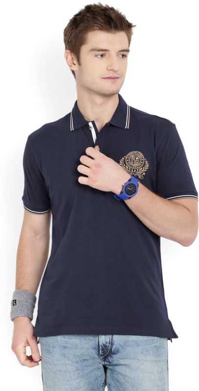 John Players Solid Mens Polo Neck Dark Blue T-Shirt