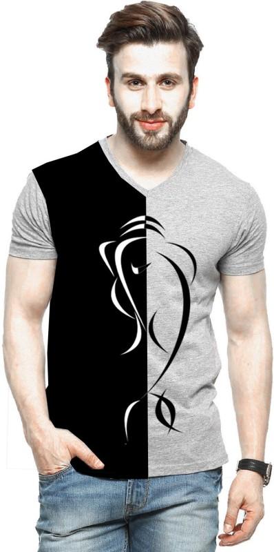 Tripr Printed Men V-neck Multicolor T-Shirt