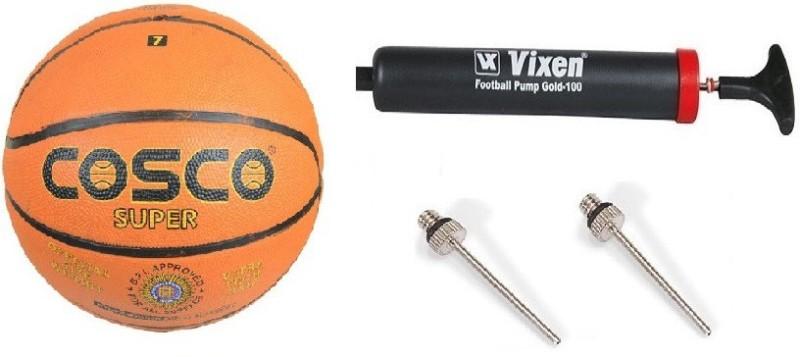 Cosco Combo of 3 , 1 Super Basketball Size - 7 , 1 Vixen Pump, And Needle Baseball(Pack of 1, Multicolor)