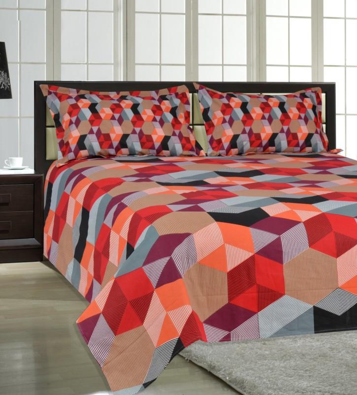 Salona Bichona 104 TC Cotton Double King Geometric Bedsheet(1 King Size Bedsheet, 2 Pillow covers, Red)