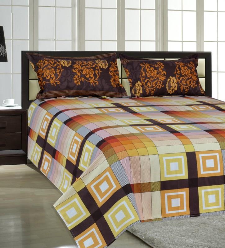 Salona Bichona 104 TC Cotton Double King Checkered Bedsheet(1 King Size Bedsheet, 2 Pillow covers, Brown)