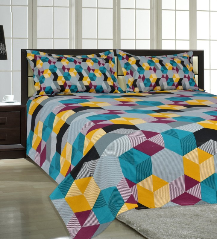 Salona Bichona 104 TC Cotton Double Abstract Bedsheet(1 Double Bedsheet, 2 Pillow covers, Multicolor)