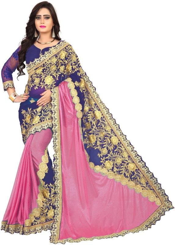 Rudra Fashion Embroidered Fashion Georgette Saree(Pink)