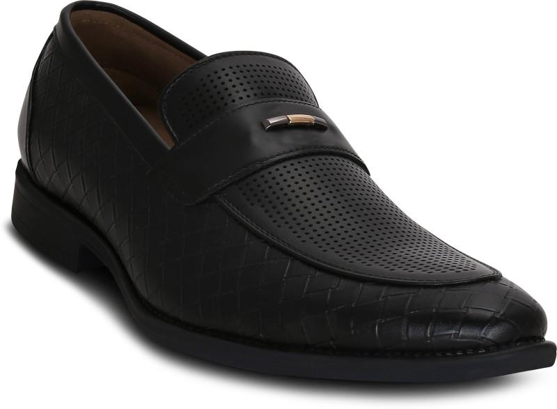 Kielz Black-Leather-Slip-On-Shoes Mocassin(Black)