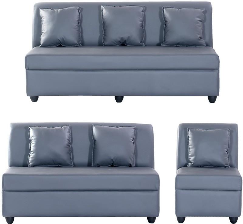 Bharat Lifestyle Delta Leatherette 3 + 2 + 1 Grey Sofa Set(Configuration - 3+2+1)
