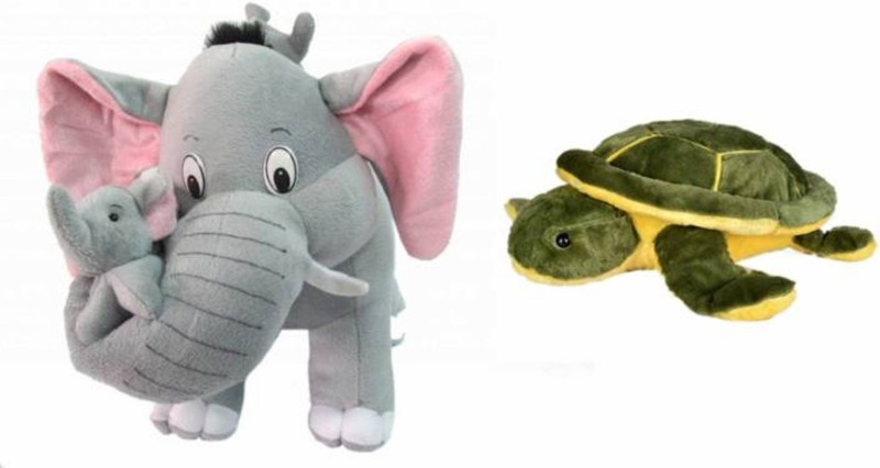 AVS Combo of Mother Elephant With 2 Babies Soft Toy - 40 cm and Green Turtle (30 cm) - 40 cm(Multicolor)
