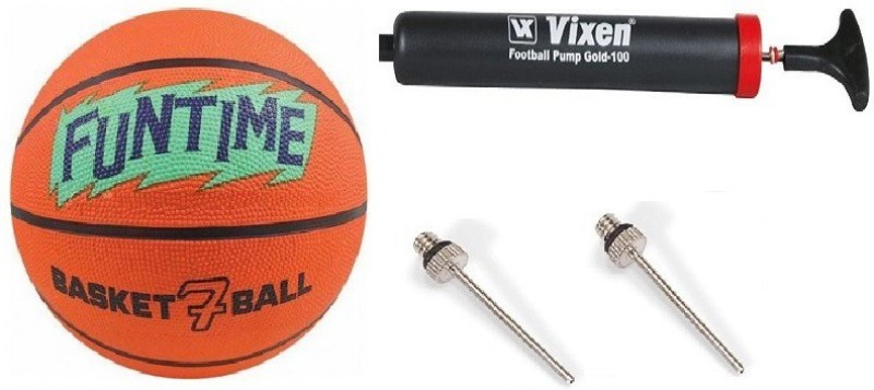 Cosco Combo of 3, 1 Funtime Basketball Size-5, 1 Vixen Pump, And Needle Basketball - Size: 7(Pack of 1, Orange & Green)