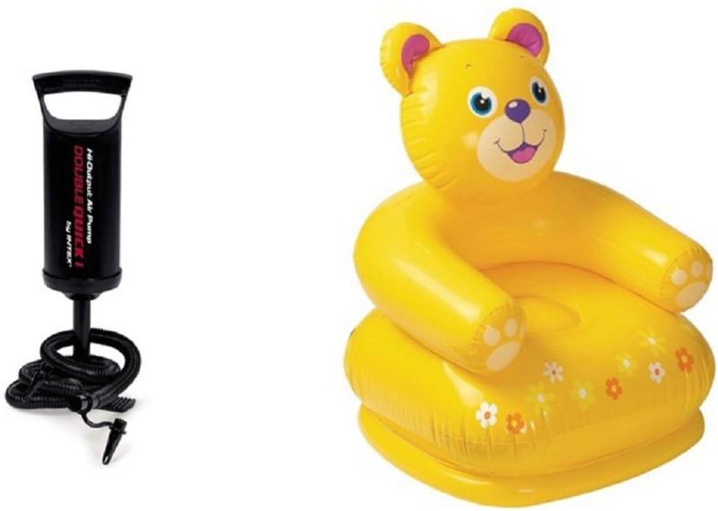 DINAARKAN INTEX 2.5 FEET INFLATABLE TEDDY CHAIR WITH INTEX AIR PUMP(Multicolor)