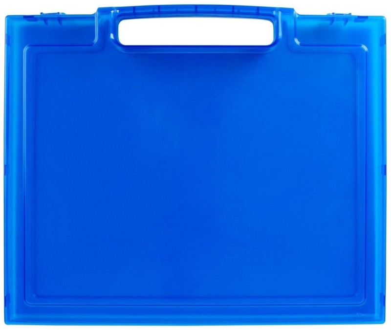 7 trees 1 Compartments Plastic Transparent Paper Storing Box with Handle, 1 Piece, Dark Blue(Blue)