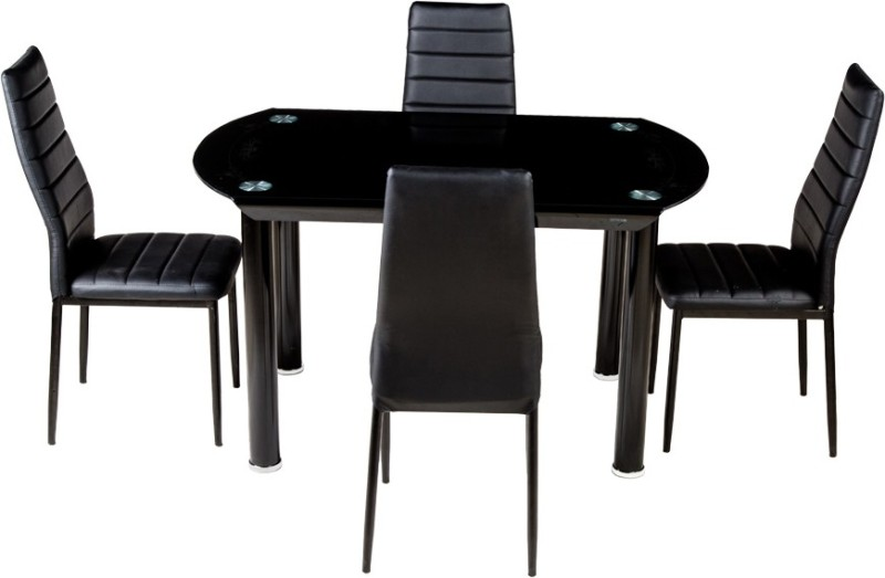 Woodness Glass 4 Seater Dining Set(Finish Color - Black)