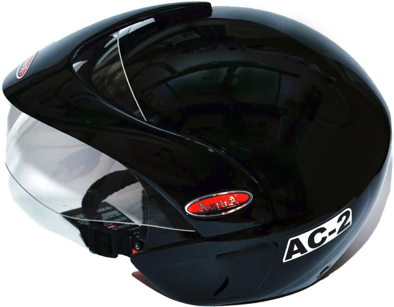 AMBA AMBA BLACK SCOOTER AND MOTORBIKE HELMET Motorbike Helmet(Black)
