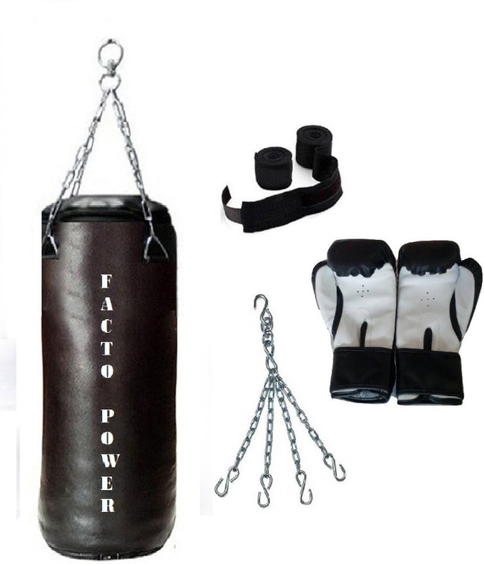 FACTO POWER 8.0 Feet Long, SRF - HEAVY Material, Black Color, Unfilled with Hanging Chain with 9 Feet Long Black Color Hand Wraps Pair & Boxing Gloves Pair Boxing Kit