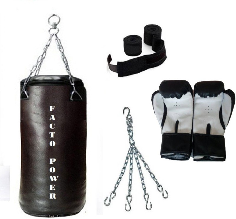FACTO POWER 1.5 Feet Long, SRF - STANDARD Material, Black Color, Unfilled with Hanging Chain with 9 Feet Long Black Color Hand Wraps Pair & Boxing Gloves Pair Boxing Kit