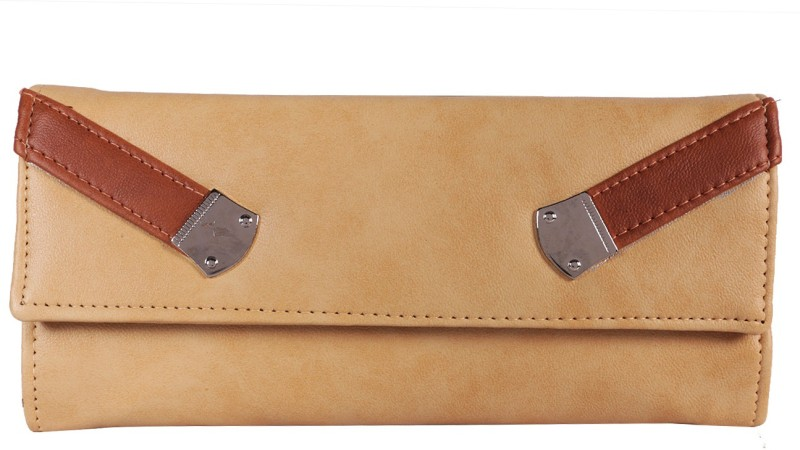 Fantosy Women Beige Artificial Leather Wrist Wallet(3 Card Slots)