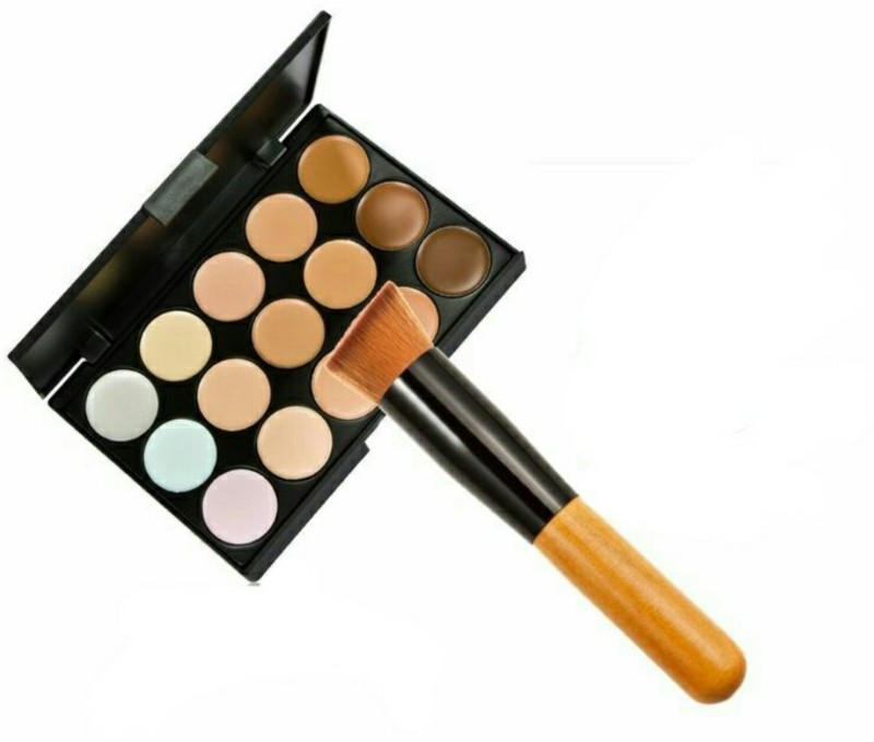 Menow 15 colours Contour Concealer Pallette and Application Brush Combo(Set of 2)