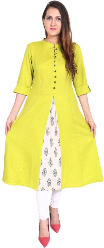 Metro Fashion Women Solid, Block Print A-line Kurta(Multicolor)