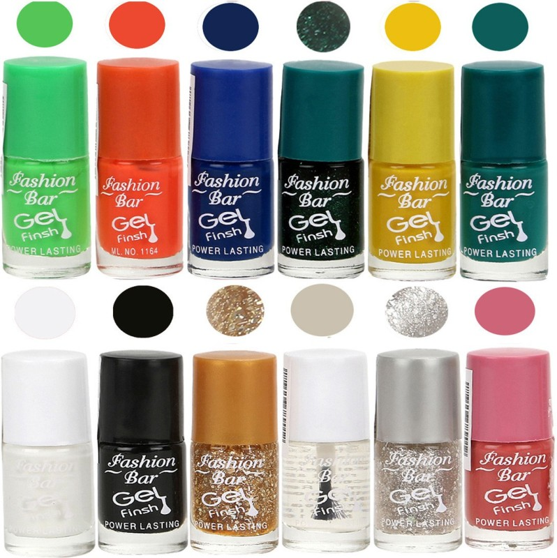 Fashion Bar Exclusive Color Range Nail Polish Set of 12 Orange, Red, Pink, Green, Nude, White, Blue, Black, Yellow(Pack of 12)