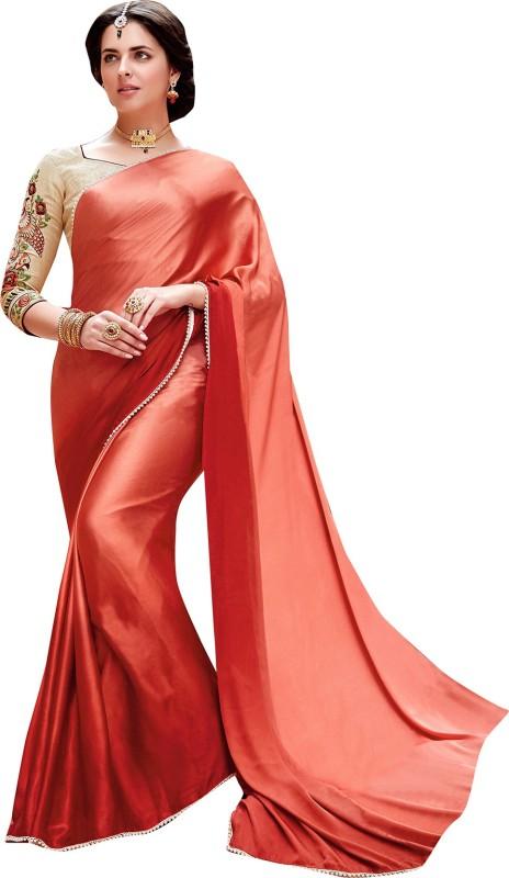 Shaily Retails Self Design Fashion Satin, Silk Saree(Red)