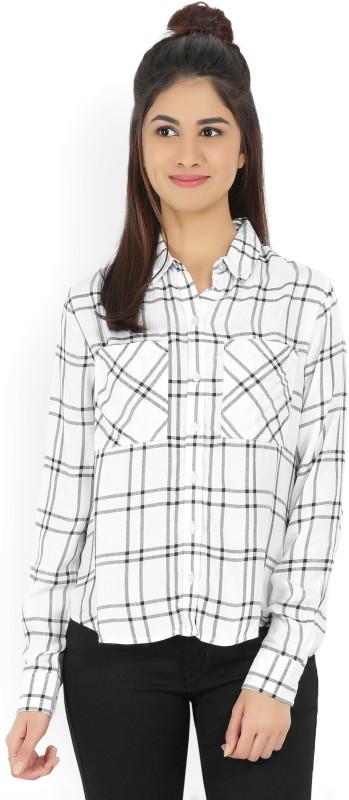 Forever 21 Women Checkered Casual Black, White Shirt