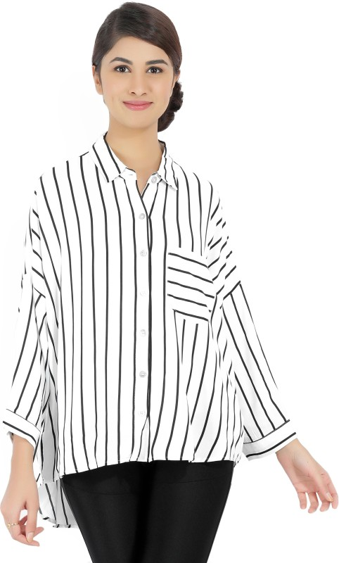Forever 21 Women Striped Casual Black, White Shirt