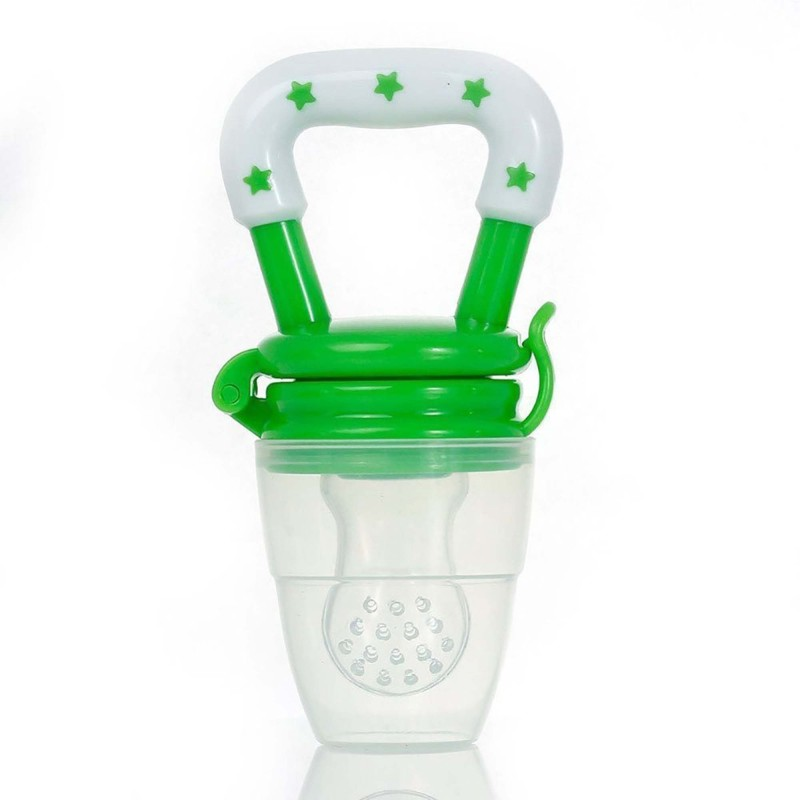 Ole Baby Colorful Attractive Baby Food Feeder Grow With Me Set Baby Teething Toy Silicone Nibbler Feeder(Green)